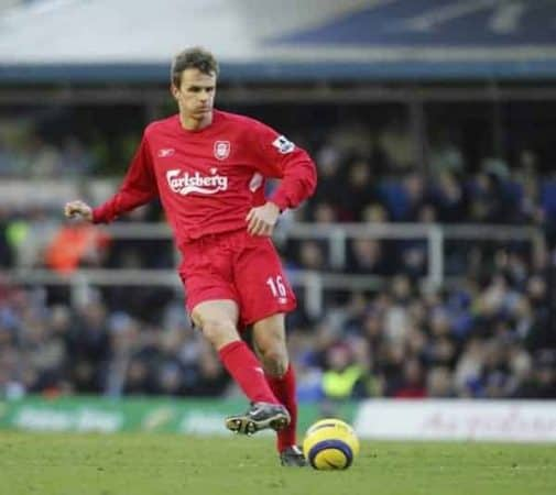 BIRMINGHAM, ENGLAND - SATURDAY FEBRUARY 12th 2005: Liverpool's Dietmar Hamann in action against Birmingham during the Premiership match at St. Andrews (Pic by David Rawcliffe/Propaganda)