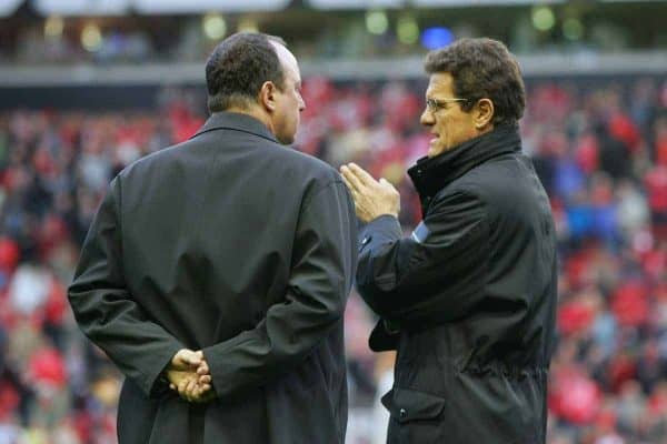 LIVERPOOL, ENGLAND - TUESDAY APRIL 5th 2005:  Liverpool's manager Rafael Benitez and Juventus' coach Fabio Capello during the UEFA Champions League Quarter Final 1st Leg match at Anfield. (Pic by David Rawcliffe/Propaganda)