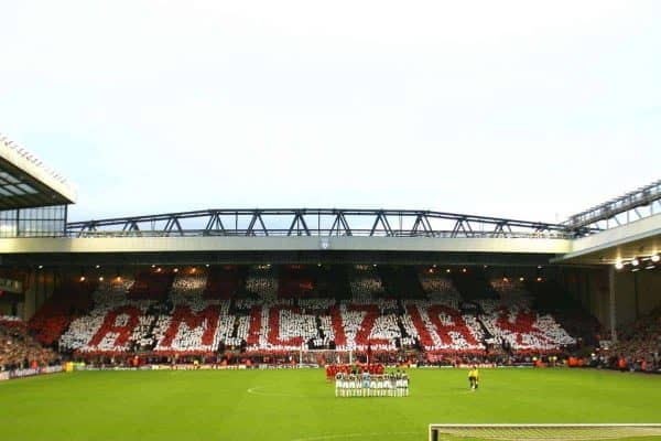 "LIVERPOOL, ENGLAND - TUESDAY APRIL 5th 2005: The Liverpool fans on the Spion Kop hold a mosaic saying ""Friendship"" in Italian before the UEFA Champions League Quarter Final 1st Leg match between Liverpool and Juventus at Anfield. (Pic by David Rawcliffe/Propaganda)"
