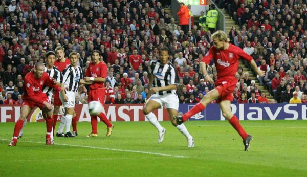 LIVERPOOL, ENGLAND - TUESDAY APRIL 5th 2005:  Liverpool's Sami Hyypia scores the opening goal against Juventus during the UEFA Champions League Quarter Final 1st Leg match at Anfield. (Pic by David Rawcliffe/Propaganda)