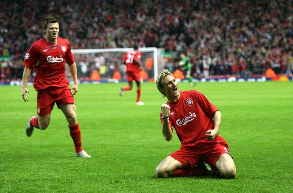 LIVERPOOL, ENGLAND - TUESDAY APRIL 5th 2005: Liverpool's Sami Hyypia celebrates scoring the opening goal against Juventus during the UEFA Champions League Quarter Final 1st Leg match at Anfield. (Pic by David Rawcliffe/Propaganda)