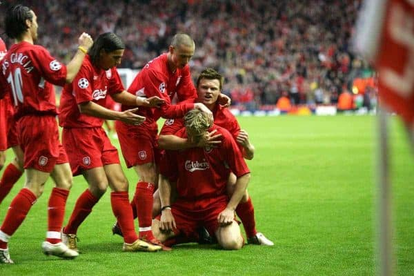 LIVERPOOL, ENGLAND - TUESDAY APRIL 5th 2005:  Liverpool's Sami Hyypia celebrates scoring the opening goal against Juventus with his team-mates during the UEFA Champions League Quarter Final 1st Leg match at Anfield. (Pic by David Rawcliffe/Propaganda)