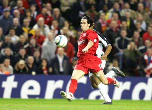 LIVERPOOL, ENGLAND - TUESDAY APRIL 5th 2005: Liverpool's Luis Garcia scores the second goal against Juventus during the UEFA Champions League Quarter Final 1st Leg match at Anfield. (Pic by David Rawcliffe/Propaganda)