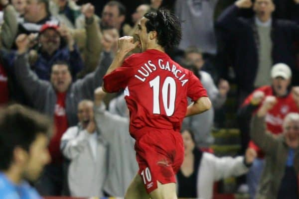 LIVERPOOL, ENGLAND - TUESDAY APRIL 5th 2005:  Liverpool's Luis Garcia celebrates scoring the second goal as Juventus' goalkeeper Gianluigi Buffon sits dejected during the UEFA Champions League Quarter Final 1st Leg match at Anfield. (Pic by David Rawcliffe/Propaganda)