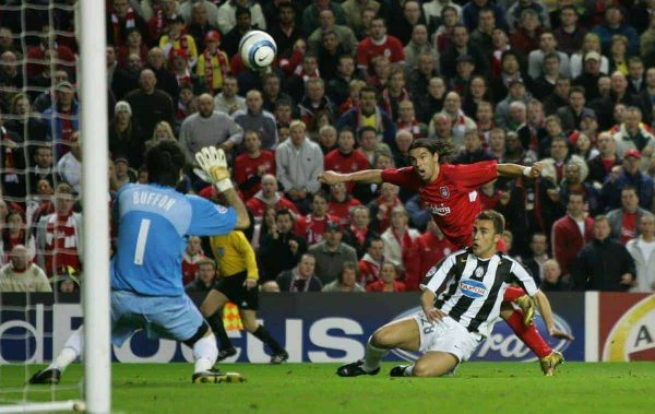 LIVERPOOL, ENGLAND - TUESDAY APRIL 5th 2005: Liverpool's Milan Baros misses a chance against Juventus' goalkeeper Gianluigi Buffon during the UEFA Champions League Quarter Final 1st Leg match at Anfield. (Pic by David Rawcliffe/Propaganda)