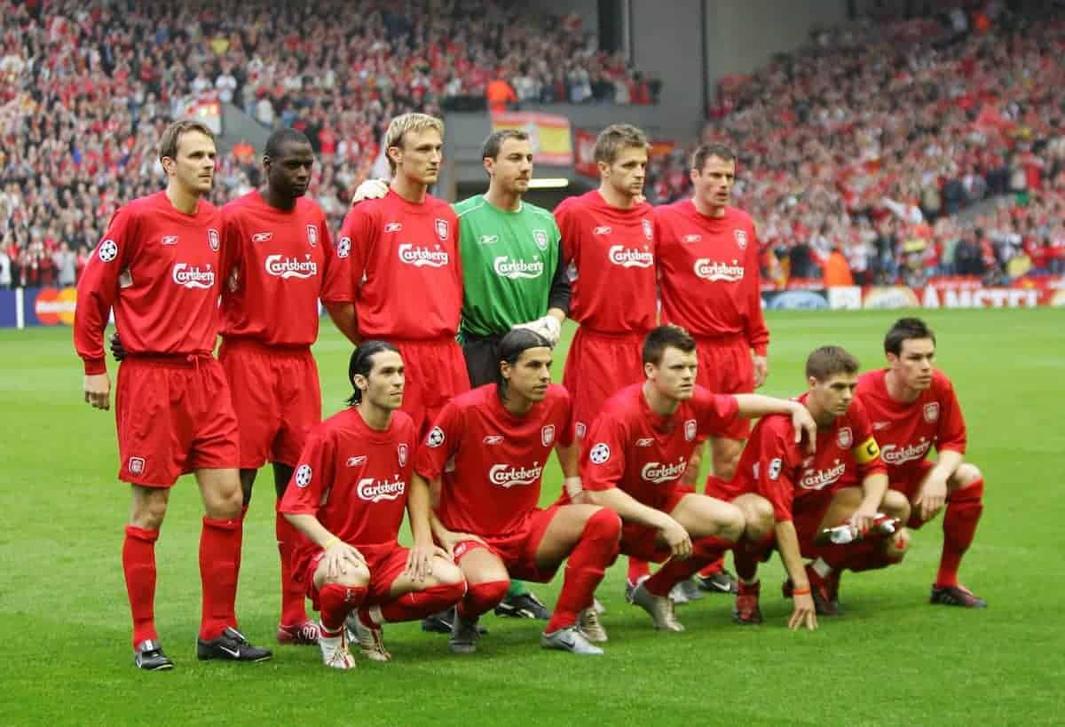 LIVERPOOL, ENGLAND. TUESDAY, MAY 3rd, 2005: Liverpool's players line-up to face Chelsea during the UEFA Champions League Semi Final 2nd Leg at Anfield. (Pic by David Rawcliffe/Propaganda)..Back row L-R: Dietmar Hamann, Djimi Traore, Sami Hyypia, Jerzy Dudek, Igor Biscan, Jamie Carragher. Front row L-R: Luis Garcia, Milan Baros, John Arne Riise, Steven Gerrard, Stephen Finnan