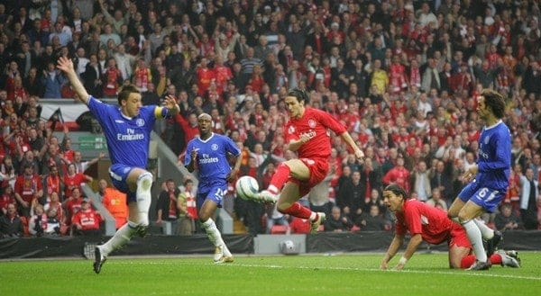 LIVERPOOL, ENGLAND. TUESDAY, MAY 3rd, 2005: Liverpool's Luis Garcia scores the opening goal against Chelsea during the UEFA Champions League Semi Final 2nd Leg at Anfield. (Pic by David Rawcliffe/Propaganda)