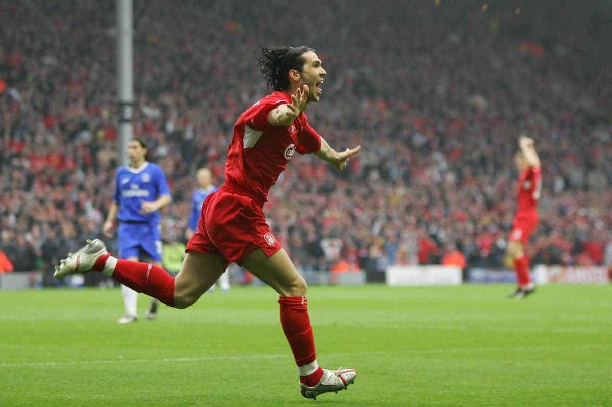 LIVERPOOL, ENGLAND. TUESDAY, MAY 3rd, 2005: Liverpool's Luis Garcia celebrates scoring the opening goal against Chelsea during the UEFA Champions League Semi Final 2nd Leg at Anfield. (Pic by David Rawcliffe/Propaganda)