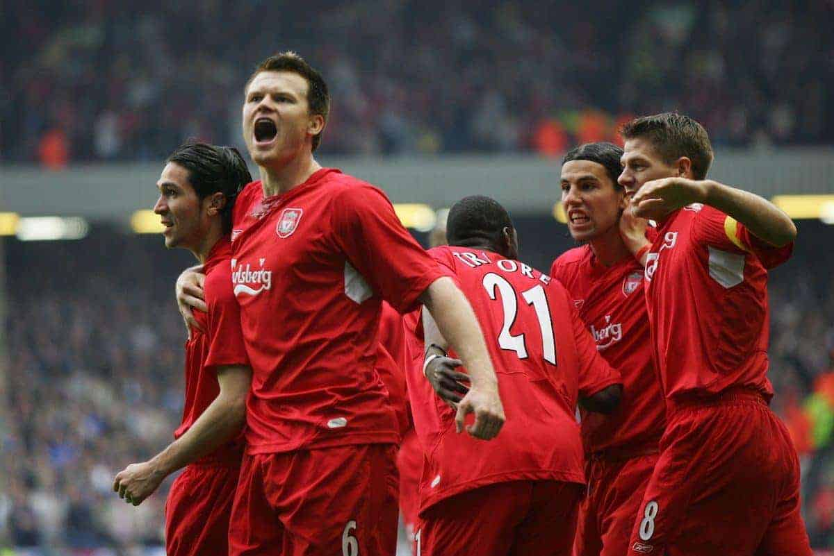 LIVERPOOL, ENGLAND. TUESDAY, MAY 3rd, 2005: Liverpool's Luis Garcia, John Arne Riise and Djimi Traore celebrate the opening goal against Chelsea during the UEFA Champions League Semi Final 2nd Leg at Anfield. (Pic by David Rawcliffe/Propaganda)