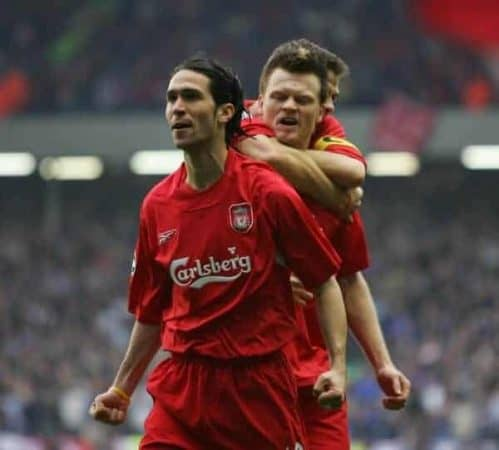 LIVERPOOL, ENGLAND. TUESDAY, MAY 3rd, 2005: Liverpool's Luis Garcia, John Arne Riise and Steven Gerrard celebrate the opening goal against Chelsea during the UEFA Champions League Semi Final 2nd Leg at Anfield. (Pic by David Rawcliffe/Propaganda)