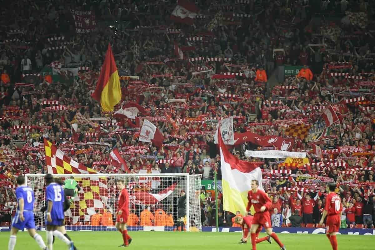 LIVERPOOL, ENGLAND. TUESDAY, MAY 3rd, 2005: Liverpool's fans on the Spion Kop cheer their side on against Chelsea during the UEFA Champions League Semi Final 2nd Leg at Anfield. (Pic by David Rawcliffe/Propaganda)