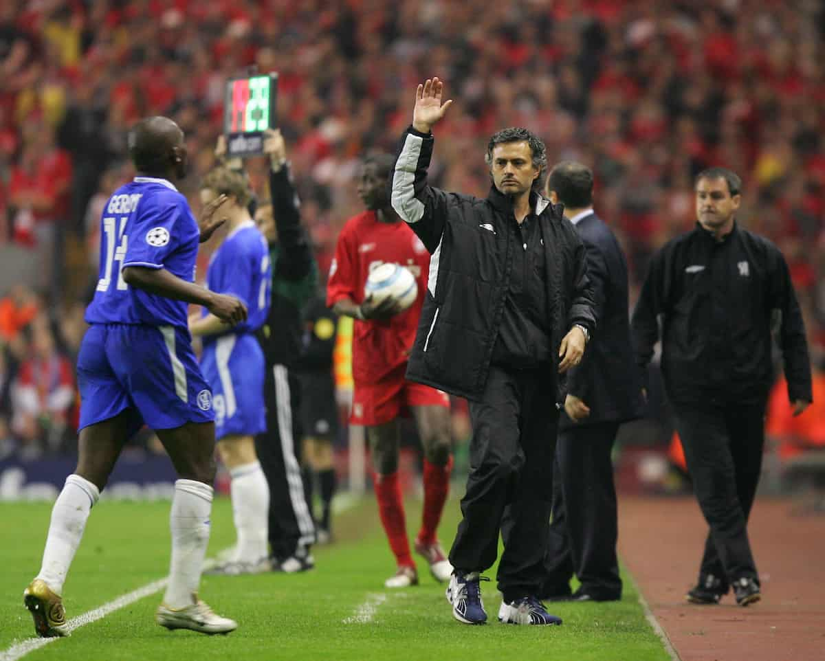 LIVERPOOL, ENGLAND. TUESDAY, MAY 3rd, 2005: Chelsea's manager Jose Mourinho during the UEFA Champions League Semi Final 2nd Leg at Anfield. (Pic by David Rawcliffe/Propaganda)