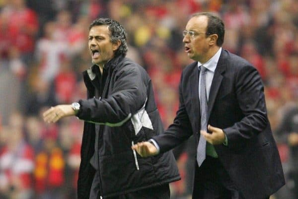Liverpool's manager Rafael Benitez and Chelsea's manager Jose Mourinho during the UEFA Champions League Semi Final 2nd Leg at Anfield. (Pic by David Rawcliffe/Propaganda)