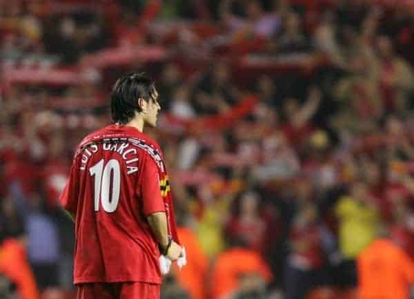 LIVERPOOL, ENGLAND. TUESDAY, MAY 3rd, 2005: Liverpool's Luis Garcia celebrates the great victory 1-0 over Chelsea during the UEFA Champions League Semi Final 2nd Leg at Anfield. (Pic by David Rawcliffe/Propaganda)