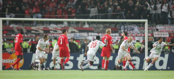 ISTANBUL, TURKEY - WEDNESDAY, MAY 25th, 2005: AC Milan's players celebrate scoring the opening goal against Liverpool scored by Paolo Maldini (R) during the UEFA Champions League Final at the Ataturk Olympic Stadium, Istanbul. (Pic by David Rawcliffe/Propaganda)