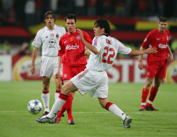 ISTANBUL, TURKEY - WEDNESDAY, MAY 25th, 2005: Liverpool's Steve Finnan and AC Milan's Kaka during the UEFA Champions League Final at the Ataturk Olympic Stadium, Istanbul. (Pic by David Rawcliffe/Propaganda)