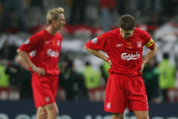 ISTANBUL, TURKEY - WEDNESDAY, MAY 25th, 2005: Liverpool's Steven Gerrard looks dejected as AC Milan score the third goal during the UEFA Champions League Final at the Ataturk Olympic Stadium, Istanbul. (Pic by David Rawcliffe/Propaganda)