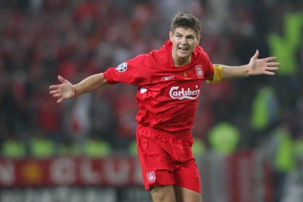 Liverpool's Steven Gerrard celebrates scoring the first come-back goal against AC Milan during the UEFA Champions League Final at the Ataturk Olympic Stadium, Istanbul. (Pic by David Rawcliffe/Propaganda)