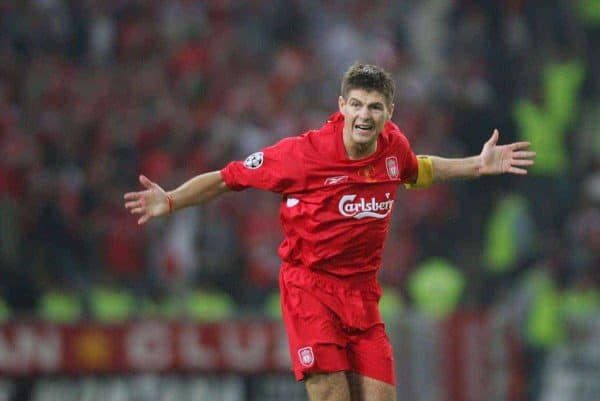 ISTANBUL, TURKEY - WEDNESDAY, MAY 25th, 2005: Liverpool's Steven Gerrard celebrates scoring the first come-back goal against AC Milan during the UEFA Champions League Final at the Ataturk Olympic Stadium, Istanbul. (Pic by David Rawcliffe/Propaganda)