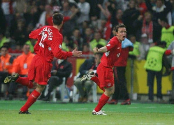 Liverpool's Vladimir Smicer celebrates scoring the second goal against AC Milan with his team mate Jamie Carragher during the UEFA Champions League Final at the Ataturk Olympic Stadium, Istanbul. (Pic by David Rawcliffe/Propaganda)