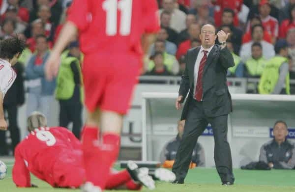 ISTANBUL, TURKEY - WEDNESDAY, MAY 25th, 2005: Liverpool's manager Rafael Benitez urges his side on against AC Milan during the UEFA Champions League Final at the Ataturk Olympic Stadium, Istanbul. (Pic by David Rawcliffe/Propaganda)