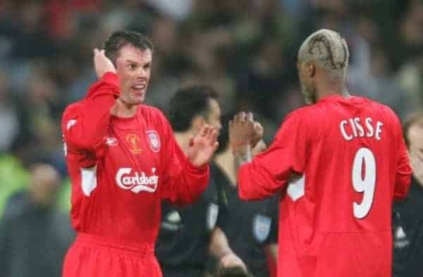 ISTANBUL, TURKEY - WEDNESDAY, MAY 25th, 2005: Liverpool's Jamie Carragher and Djibril Cisse as the game goes into extra time against AC Milan during the UEFA Champions League Final at the Ataturk Olympic Stadium, Istanbul. (Pic by David Rawcliffe/Propaganda)