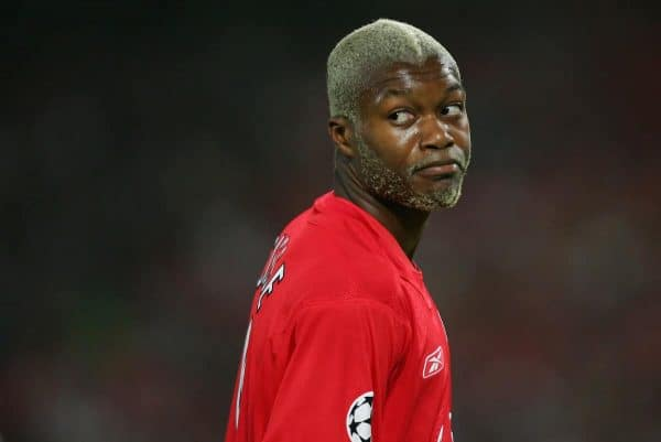 ISTANBUL, TURKEY - WEDNESDAY, MAY 25th, 2005: Liverpool's Djibril Cisse in action against AC Milan during the UEFA Champions League Final at the Ataturk Olympic Stadium, Istanbul. (Pic by David Rawcliffe/Propaganda)