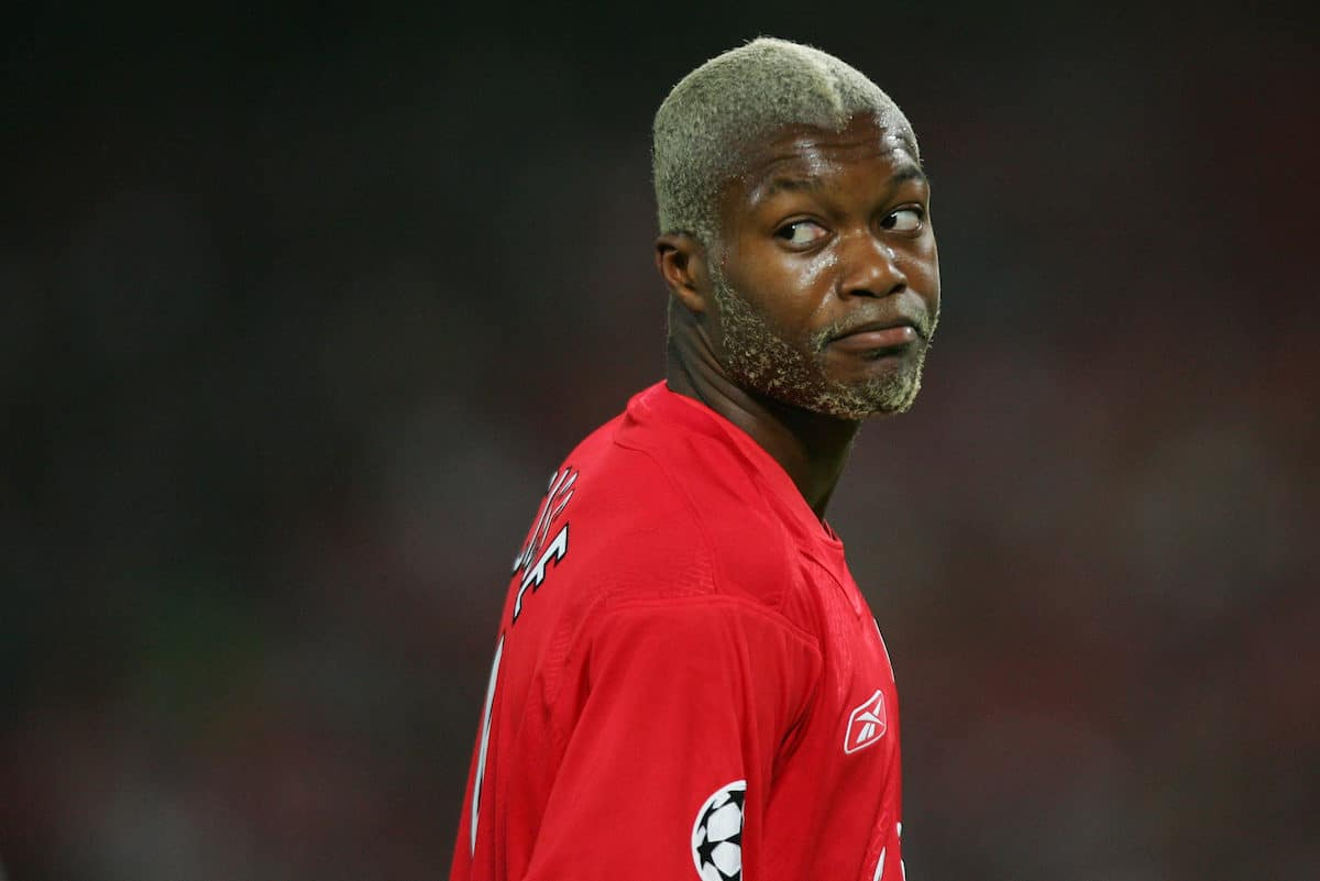 Liverpool's Djibril Cisse in action against AC Milan during the UEFA Champions League Final at the Ataturk Olympic Stadium, Istanbul. (Pic by David Rawcliffe/Propaganda)