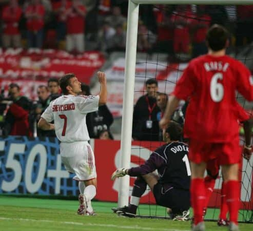 ISTANBUL, TURKEY - WEDNESDAY, MAY 25th, 2005: AC Milan's Andriy Shevchenko sees his shot saved by Liverpool goalkeeper Jerzy Dudek during the UEFA Champions League Final at the Ataturk Olympic Stadium, Istanbul. (Pic by David Rawcliffe/Propaganda)