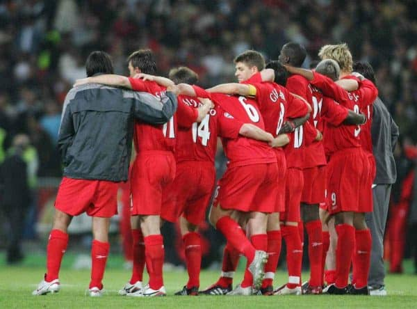 ISTANBUL, TURKEY - WEDNESDAY, MAY 25th, 2005: Liverpool players embrace to watch the penalty shoot-out against AC Milan during the UEFA Champions League Final at the Ataturk Olympic Stadium, Istanbul. (Pic by David Rawcliffe/Propaganda)