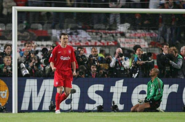 Liverpool's Vladimir Smicer celebrates scoring the fourth penalty against AC Milan as Dida looks dejected during the UEFA Champions League Final at the Ataturk Olympic Stadium, Istanbul. (Pic by David Rawcliffe/Propaganda)