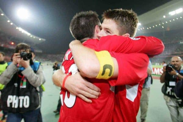 ISTANBUL, TURKEY - WEDNESDAY, MAY 25th, 2005: Liverpool's Steven Gerrard celebrates with Jamie Carragher after beating AC Milan on penalties during the UEFA Champions League Final at the Ataturk Olympic Stadium, Istanbul. (Pic by David Rawcliffe/Propaganda)