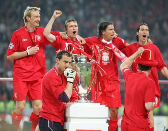 ISTANBUL, TURKEY - WEDNESDAY, MAY 25th, 2005: Liverpool's Jerzy Dudek celebrates saving the last penalty to win the European Cup against AC Milan during the UEFA Champions League Final at the Ataturk Olympic Stadium, Istanbul. (Pic by David Rawcliffe/Propaganda)
