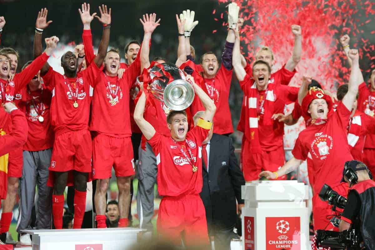 ISTANBUL, TURKEY - WEDNESDAY, MAY 25th, 2005: Liverpool's Steven Gerrard lifts the European Cup after beating AC Milan on penalties during the UEFA Champions League Final at the Ataturk Olympic Stadium, Istanbul. (Pic by David Rawcliffe/Propaganda)