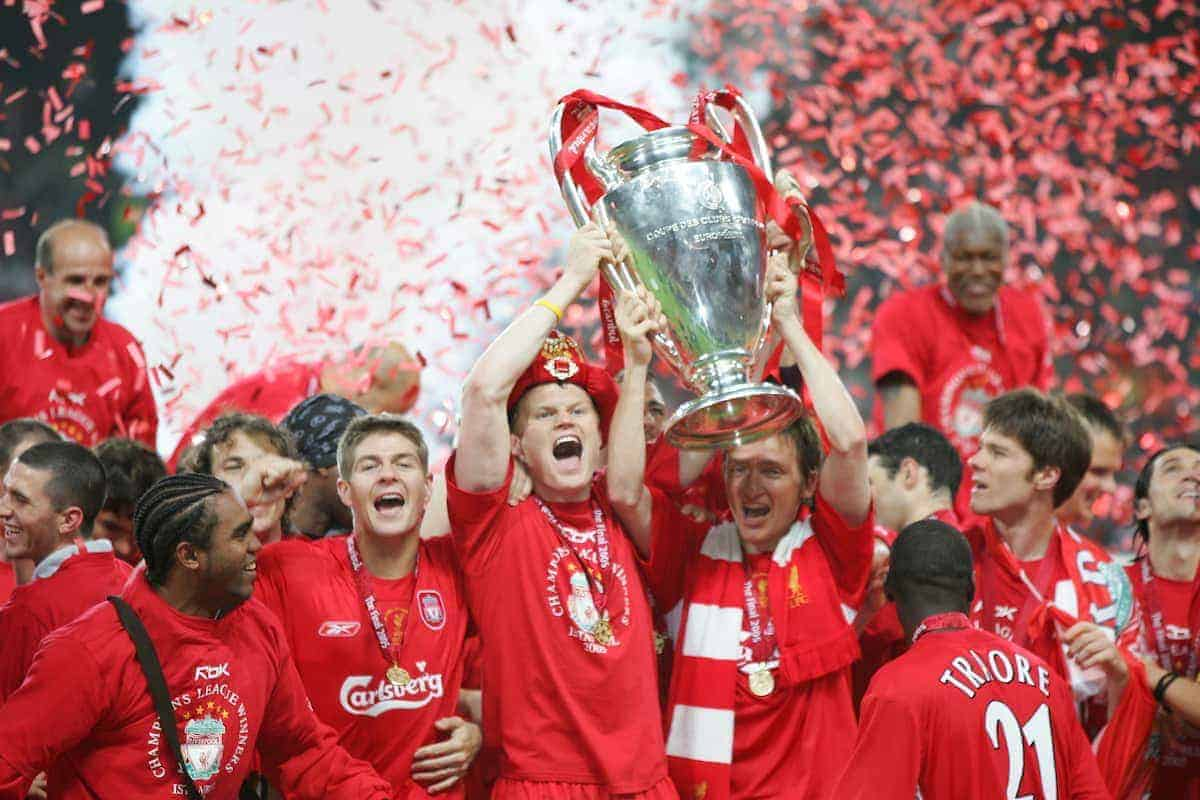 ISTANBUL, TURKEY - WEDNESDAY, MAY 25th, 2005: Liverpool's John Arne Riise and Vladimir Smicer lift the European Cup after beating AC Milan on penalties during the UEFA Champions League Final at the Ataturk Olympic Stadium, Istanbul. (Pic by David Rawcliffe/Propaganda)