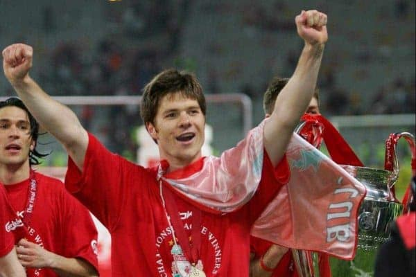 ISTANBUL, TURKEY - WEDNESDAY, MAY 25th, 2005: Liverpool's Xabi Alonso celebrates winning European Cup after beating AC Milan on penalties during the UEFA Champions League Final at the Ataturk Olympic Stadium, Istanbul. (Pic by David Rawcliffe/Propaganda)