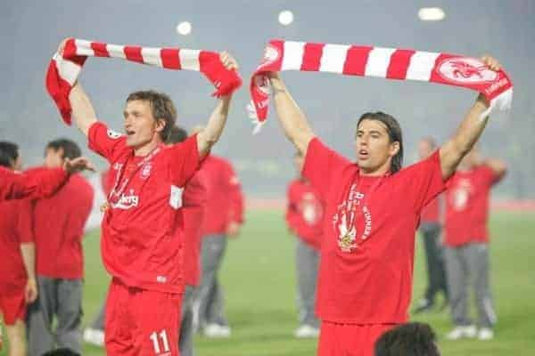 ISTANBUL, TURKEY - WEDNESDAY, MAY 25th, 2005: Liverpool's Vladimir Smicer and Milan Baros celebrate winning the European Cup after beating AC Milan on penalties during the UEFA Champions League Final at the Ataturk Olympic Stadium, Istanbul. (Pic by David Rawcliffe/Propaganda)