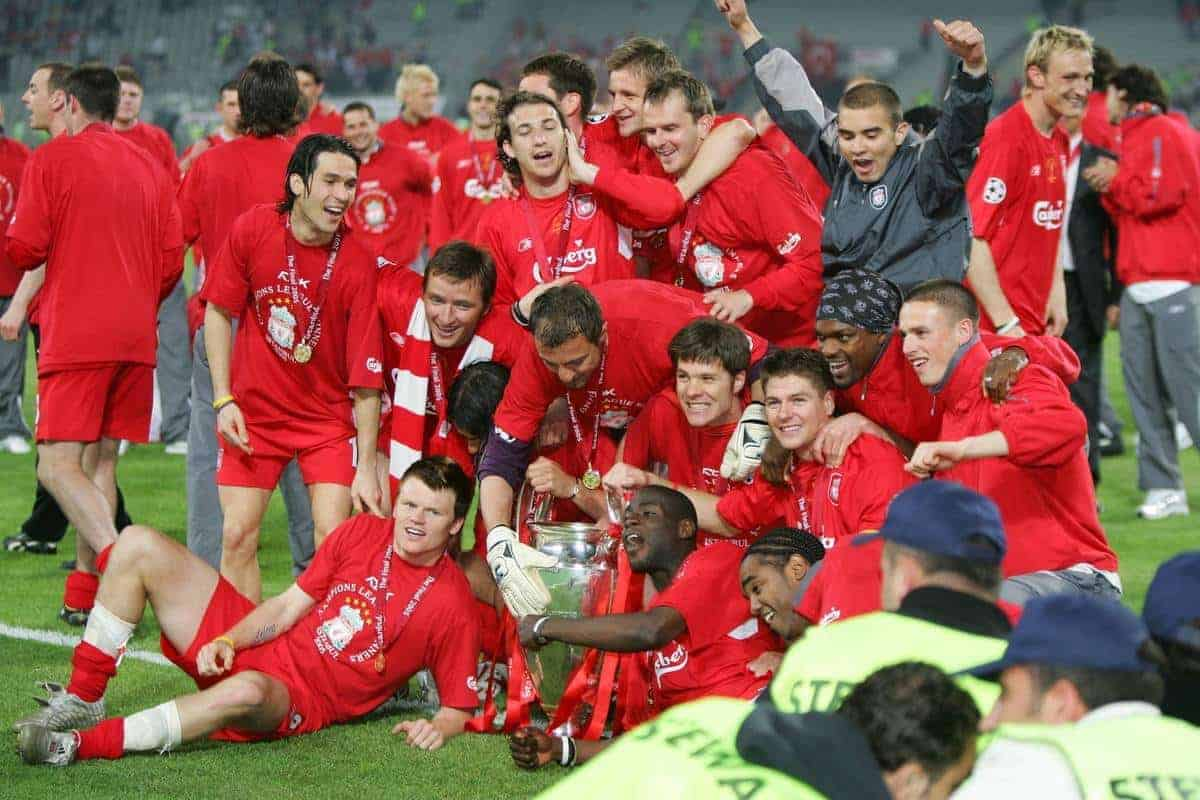 ISTANBUL, TURKEY - WEDNESDAY, MAY 25th, 2005: Liverpool players celebrate winning the European Cup after beating AC Milan on penalties during the UEFA Champions League Final at the Ataturk Olympic Stadium, Istanbul. (Pic by David Rawcliffe/Propaganda)