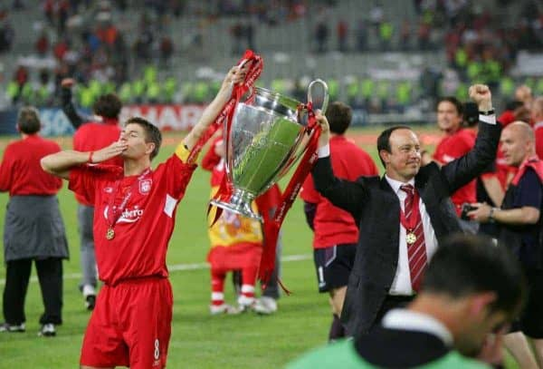 ISTANBUL, TURKEY - WEDNESDAY, MAY 25th, 2005: Liverpool manager Rafael Benitez and Steven Gerrard celebrate winning the European Cup after beating AC Milan on penalties during the UEFA Champions League Final at the Ataturk Olympic Stadium, Istanbul. (Pic by David Rawcliffe/Propaganda)