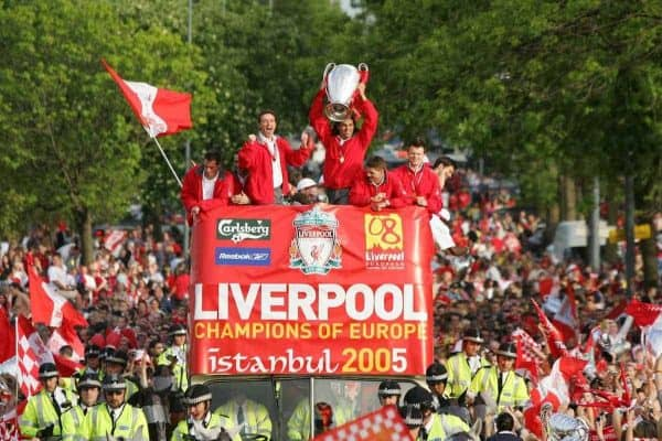 LIVERPOOL, ENGLAND - THURSDAY, MAY 26th, 2005: Liverpool's Czech players Vladimir Smicer (L) and Milan Baros (R)parade the European Champions Cup on on open-top bus tour of Liverpool in front of 500,000 fans after beating AC Milan in the UEFA Champions League Final at the Ataturk Olympic Stadium, Istanbul. (Pic by David Rawcliffe/Propaganda)