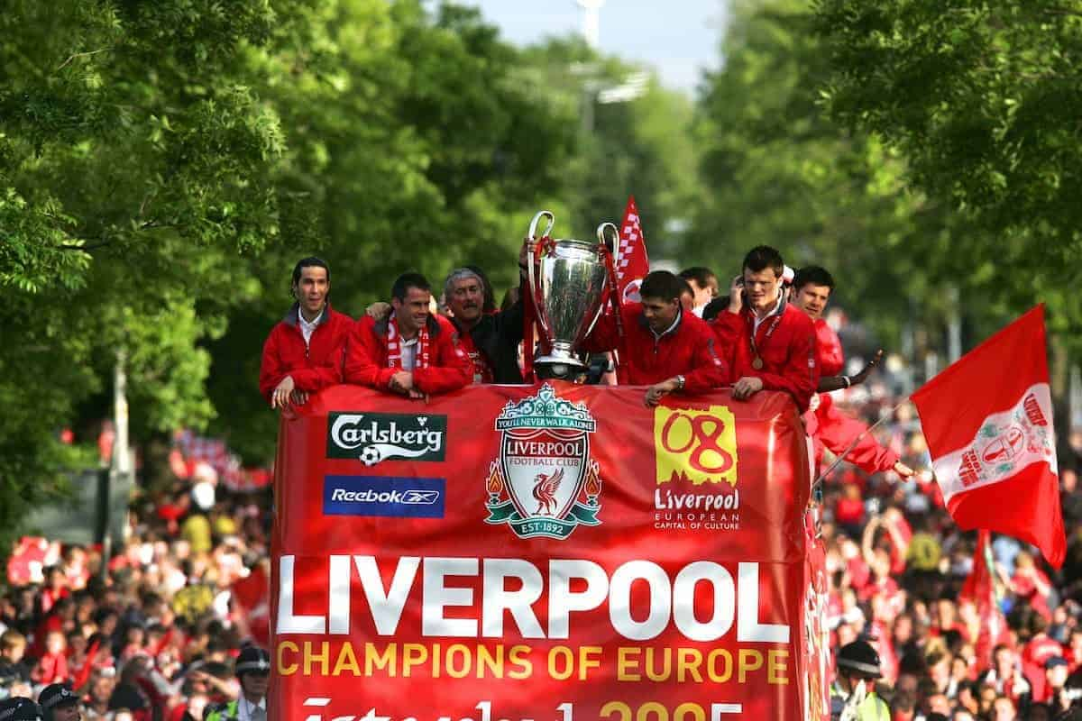 LIVERPOOL, ENGLAND - THURSDAY, MAY 26th, 2005: Liverpool's Luis Garcia, Jamie Carragher, Chairman David Moores, Steven Gerrard and John Arne Riise parade the European Champions Cup on on open-top bus tour of Liverpool in front of 500,000 fans after beating AC Milan in the UEFA Champions League Final at the Ataturk Olympic Stadium, Istanbul. (Pic by David Rawcliffe/Propaganda)