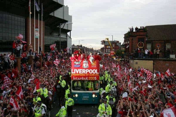 Liverpool players parade the European Champions Cup on on open-top bus tour of Liverpool in front of 500,000 fans after beating AC Milan in the UEFA Champions League Final at the Ataturk Olympic Stadium, Istanbul. (Pic by David Rawcliffe/Propaganda)