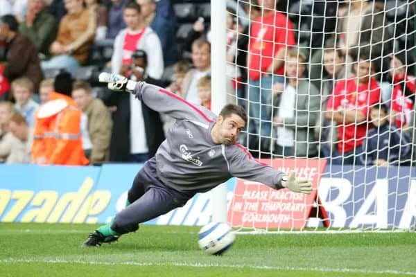 LONDON, ENGLAND - SATURDAY, OCTOBER 22nd, 2005: Liverpool's goalkeeper Scott Carson before the the Premiership match against Fulham at Craven Cottage. (Pic by David Rawcliffe/Propaganda)