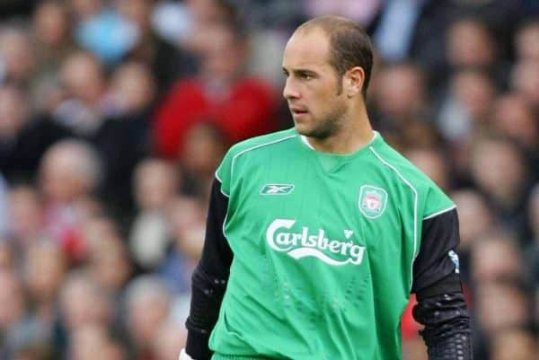 LONDON, ENGLAND - SATURDAY, OCTOBER 22nd, 2005: Liverpool's Jose Reina in action against Fulham during the Premiership match at Craven Cottage. (Pic by David Rawcliffe/Propaganda)