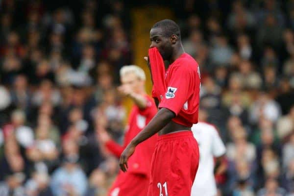 LONDON, ENGLAND - SATURDAY, OCTOBER 22nd, 2005: Liverpool's Djimi Traore against Fulham during the Premiership match at Craven Cottage. (Pic by David Rawcliffe/Propaganda)