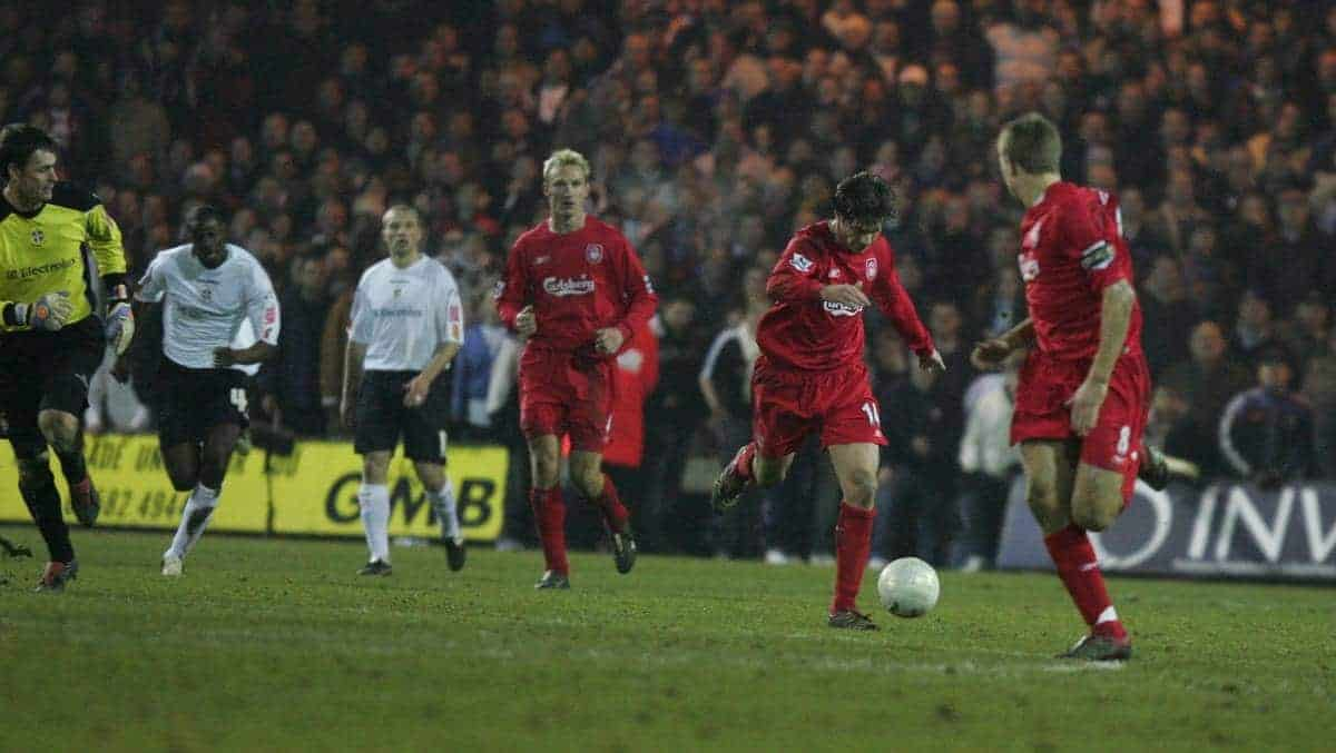 LUTON, ENGLAND - SATURDAY, JANUARY 7th, 2006: Liverpool's Xabi Alonso scores the fifth goal against Luton Town during the FA Cup 3rd Round match at Kenilworth Road. (Pic by David Rawcliffe/Propaganda)