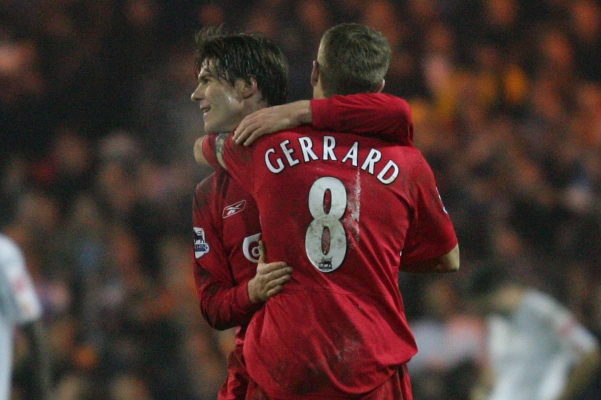 LUTON, ENGLAND - SATURDAY, JANUARY 7th, 2006: Liverpool's Xabi Alonso celebrates scoring the fifth goal against Luton Town with team-mate Steven Gerrard during the FA Cup 3rd Round match at Kenilworth Road. (Pic by David Rawcliffe/Propaganda)