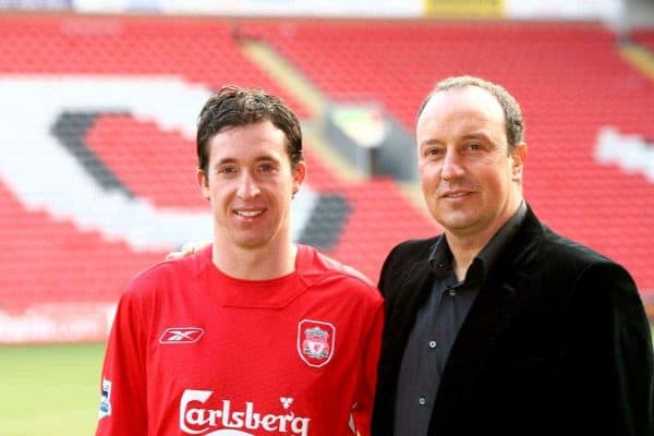 LIVERPOOL, ENGLAND - MONDAY, JANUARY 30th, 2006: Liverpool's new signing Robbie Fowler with manager Rafael Benitez at Anfield following his free transfer from Manchester City back to his home town club. (Pic by David Rawcliffe/Propaganda)
