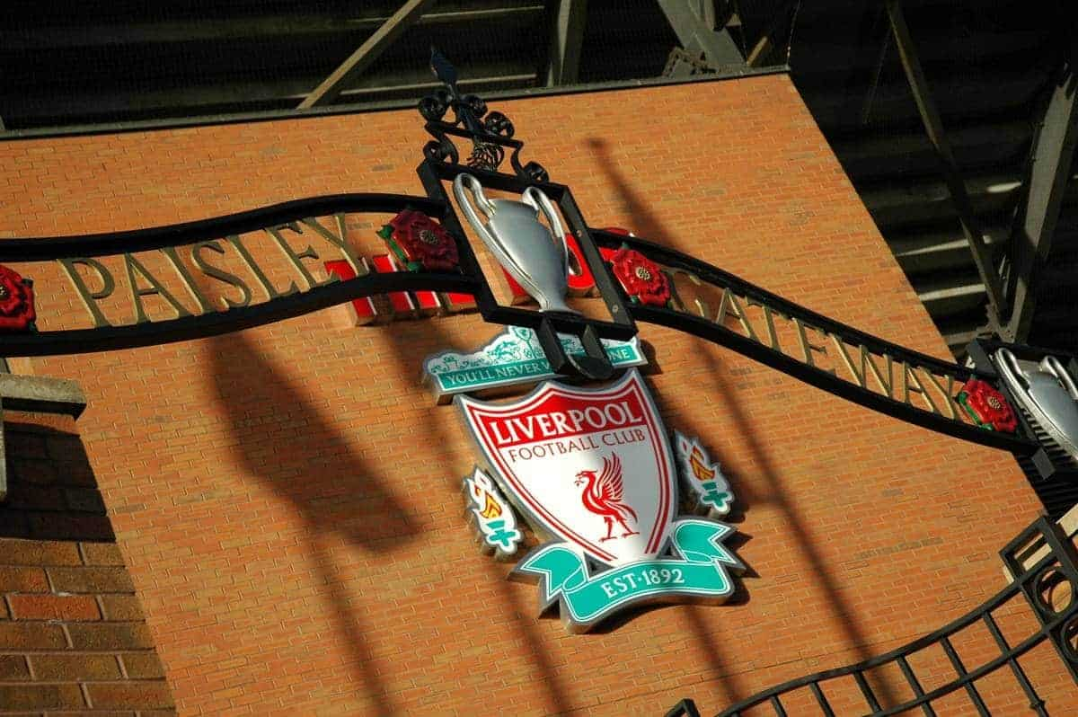 LIVERPOOL, ENGLAND - SUNDAY, APRIL 9th, 2006: The Paisley Gateway outside the Spion Kop at Liverpool Football Club's Anfield home. The gates are a tribute to the most successful manager in English football history, Bob Paisley OBE, who managed the Merseyside club from 1974-1983. (Pic by Dan Istitene/Propaganda)