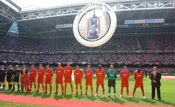 CARDIFF, WALES - SATURDAY, MAY 13th, 2006: Liverpool players line-up to face West Ham United during the FA Cup Final at the Millennium Stadium. (Pic by Jason Roberts/Propaganda)